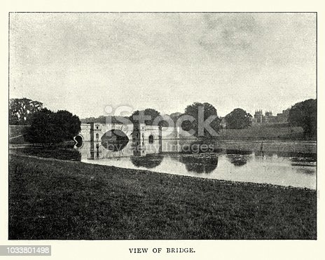 Vintage photograph of View of the Bridge, Blenheim Palace, late 19th Century