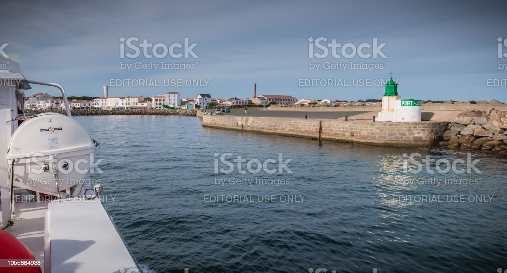View of the bridge of a ferry that enters the harbor of the island of Yeu stock photo