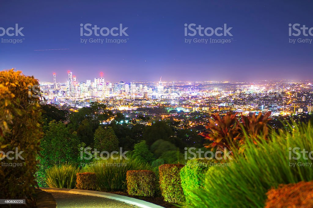 View of the Brisbane City from Mount Coot-tha stock photo