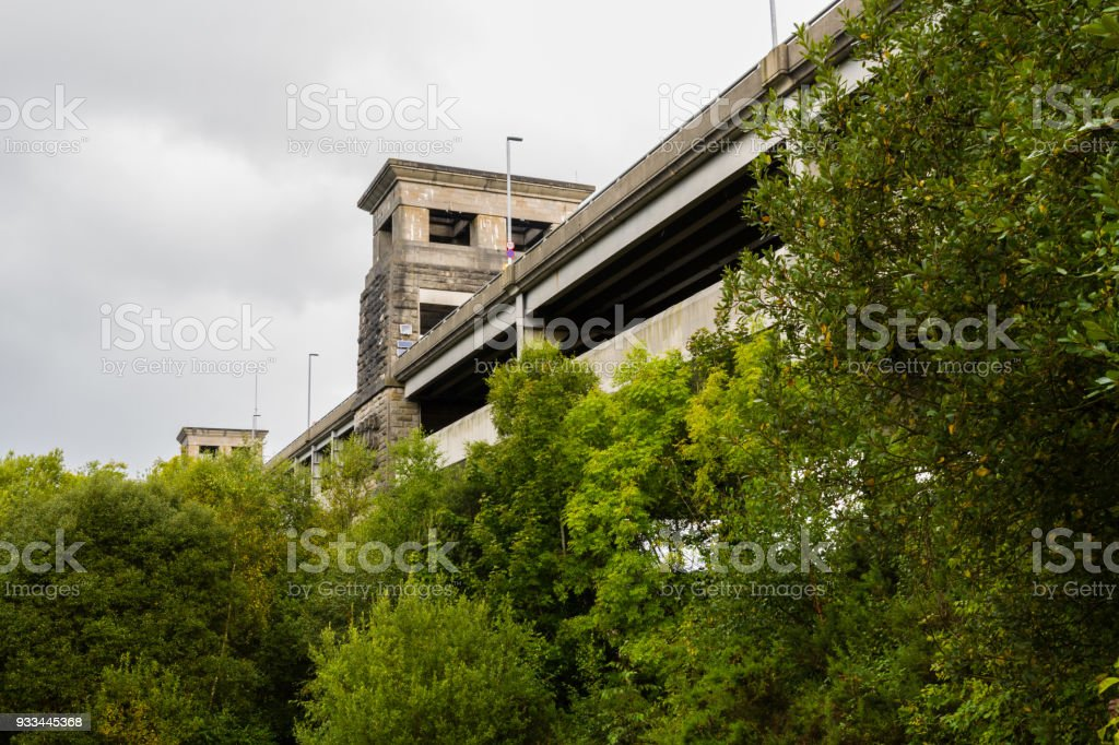 View of the Britannia bridge from below. stock photo