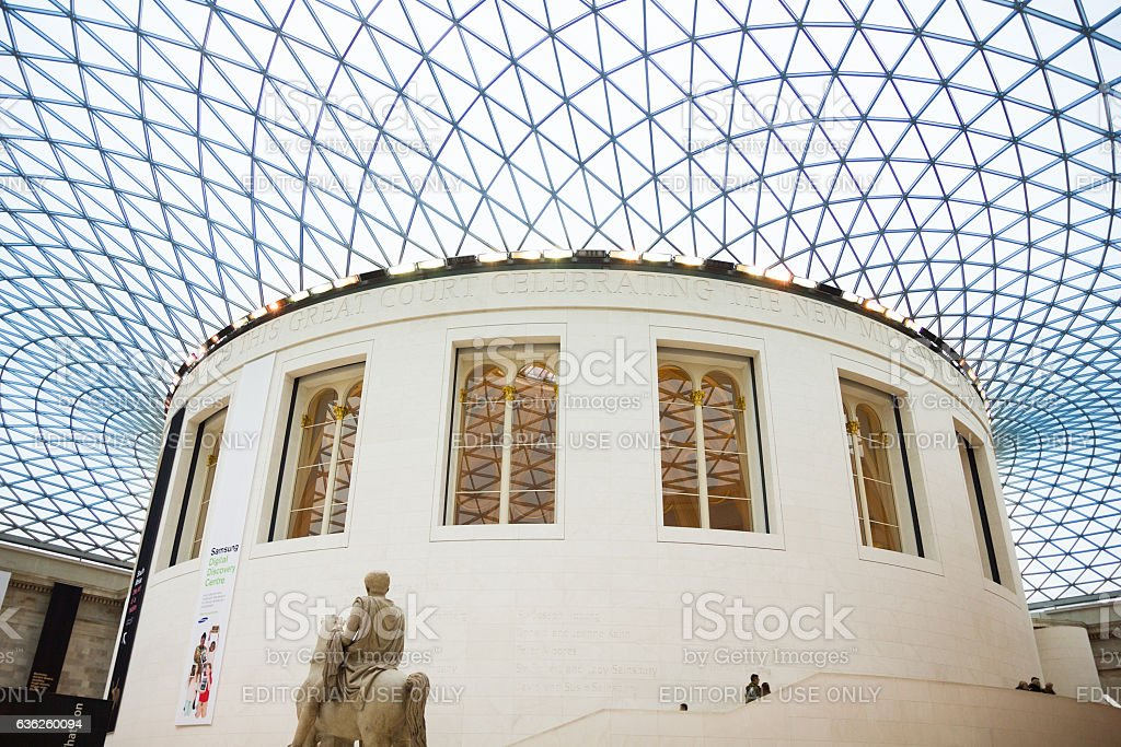 View of the British Museum and its roof made of glass stock photo