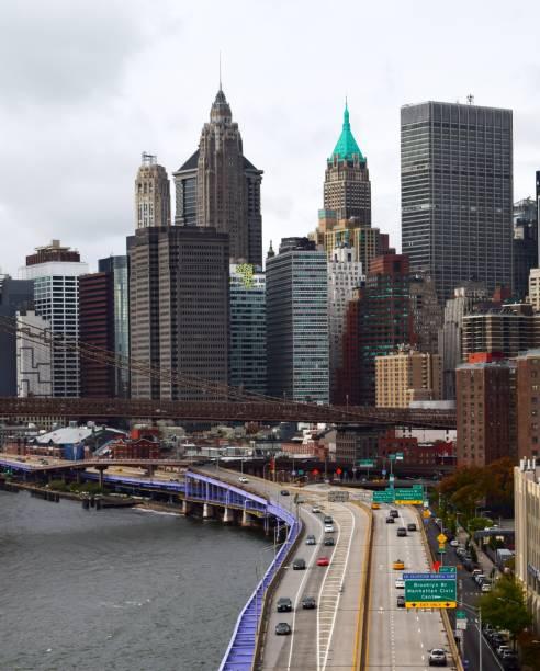 View of the Brooklyn Bridge stock photo