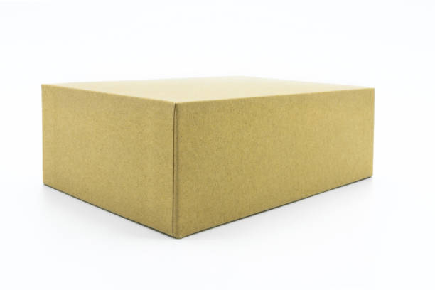 View of the brown carton isolated on the white background. stock photo