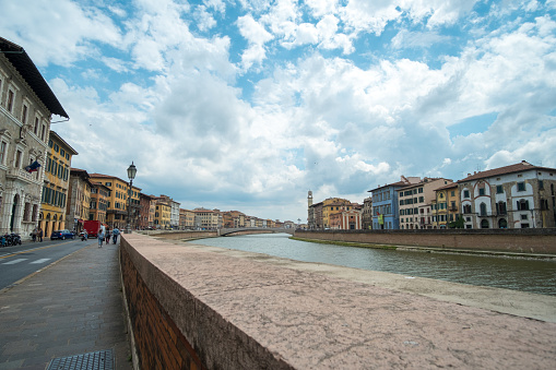 View of the building along river Arno in Pisa