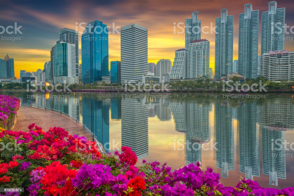 View of the building and morning light in Benjakiti of Bangkok,Thailand royalty-free stock photo