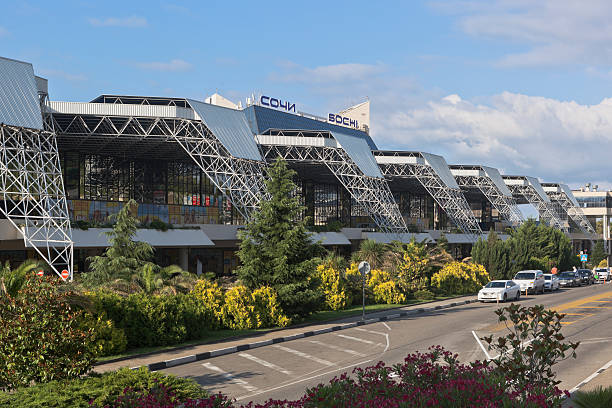View of the building International Airport of Sochi Adler, Sochi, Krasnodar region, Russia - July 12, 2016: View of the building International Airport of Sochi sochi stock pictures, royalty-free photos & images