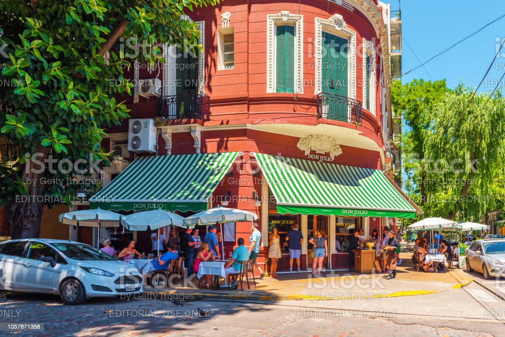 View of the building of a cafe in the center of the city stock photo
