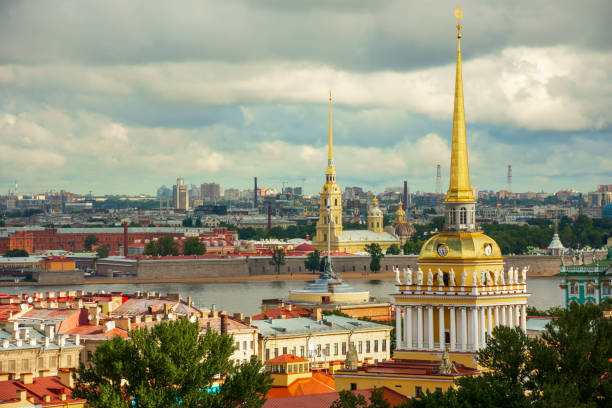 View of the building of the Admiralty and the Peter and Paul Fortress from the colonnade of St. Isaac's Cathedral in St. Petersburg, Russia stock photo