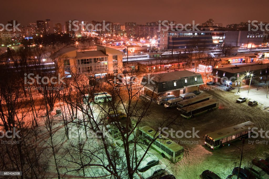 View of the building of the railway station, the shopping center, the southern part of the city, the station square and the bus terminus stock photo