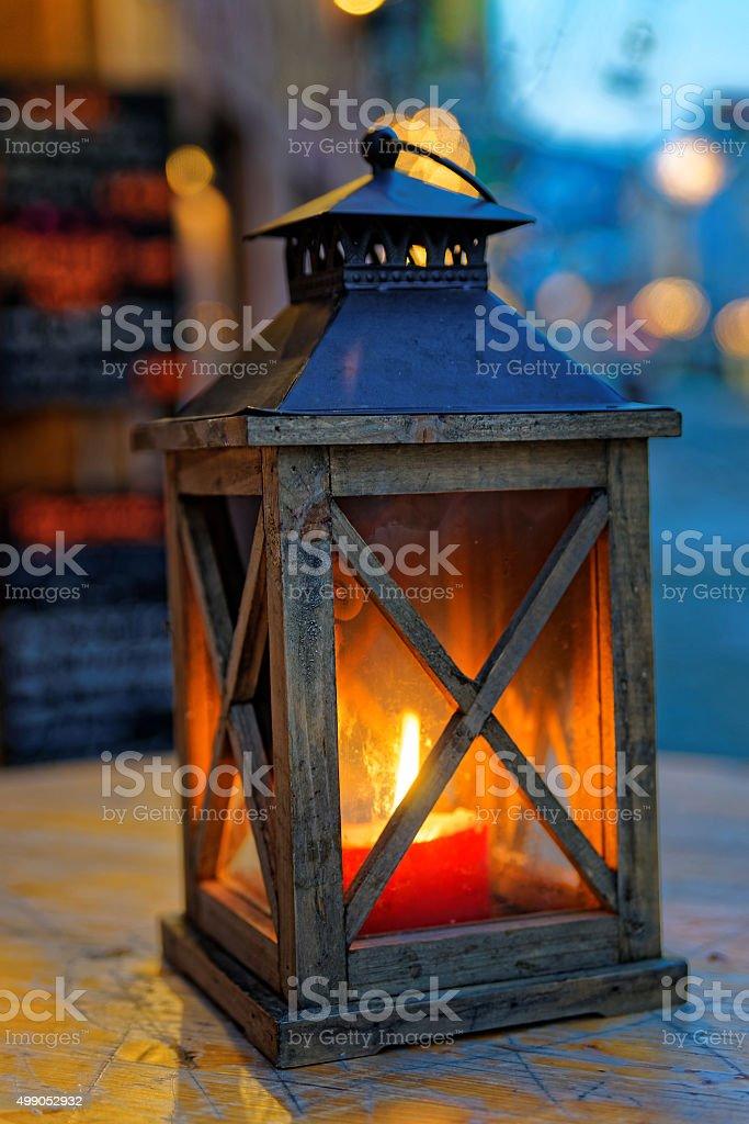 View of the burning lantern stock photo