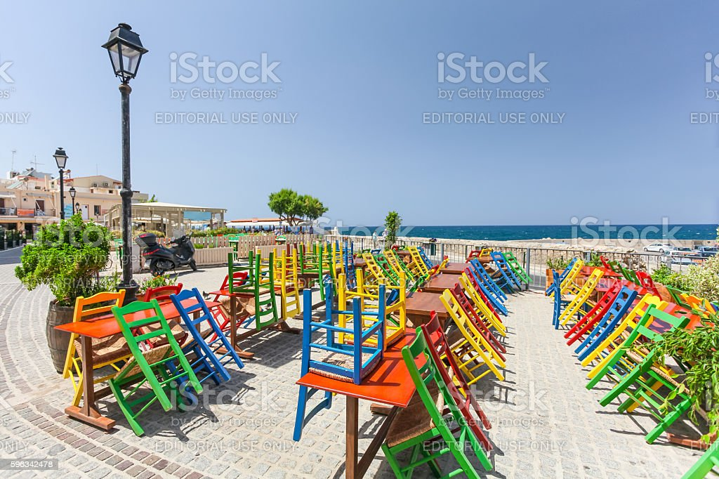 View of the cafe with color chairs royalty-free stock photo