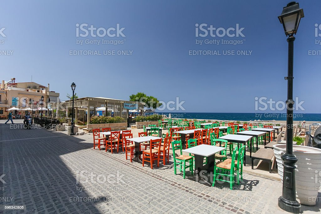 View of the cafe with color chairs Lizenzfreies stock-foto