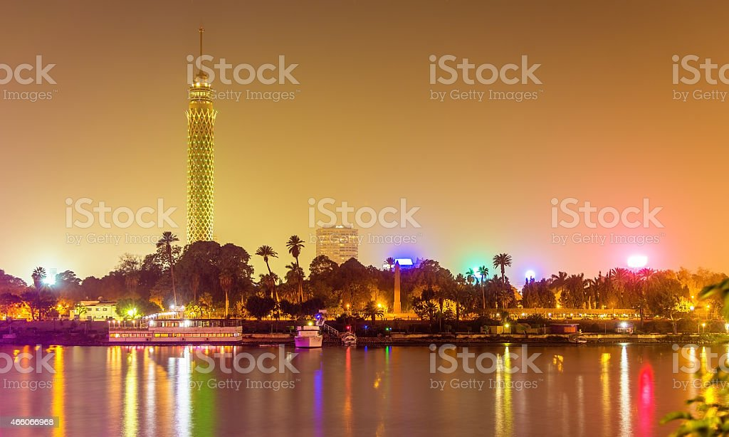 View of the Cairo tower in the evening - Egypt stock photo