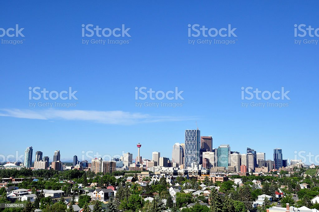 A view of the Calgary Skyline on a sunny day stock photo