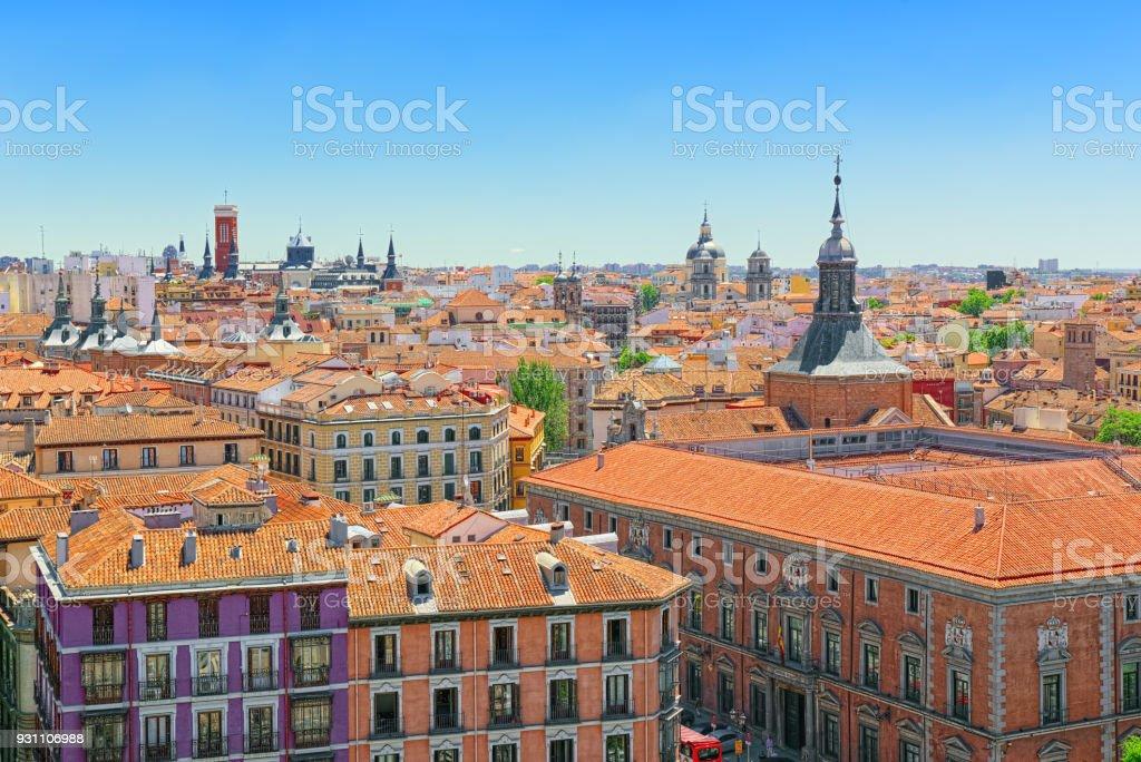 İspanya-güzel şehir Madrid bir kuş bakışı başkenti görünümünü. - Royalty-free Antik Stok görsel