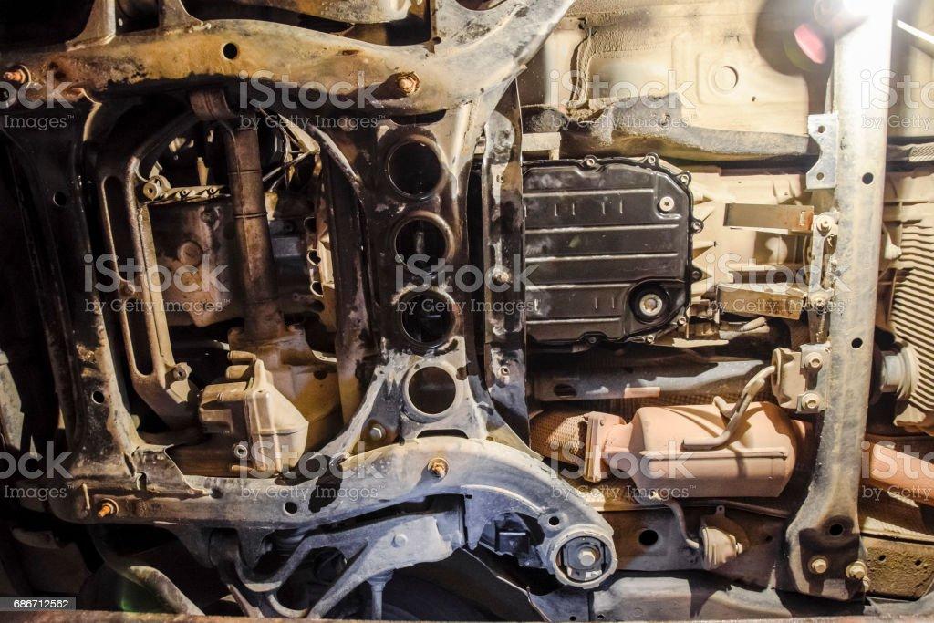 Blick Auf Das Auto Von Unten Autoservice Center Autowartung