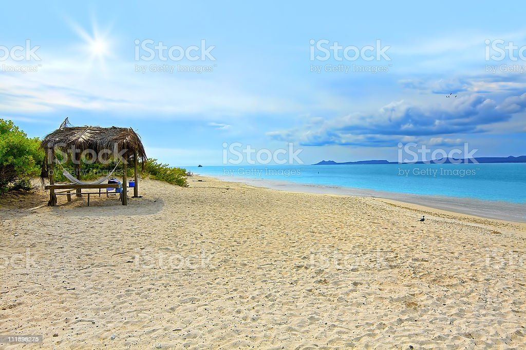 A view of the Caribbean beach of Klein Bonaire stock photo