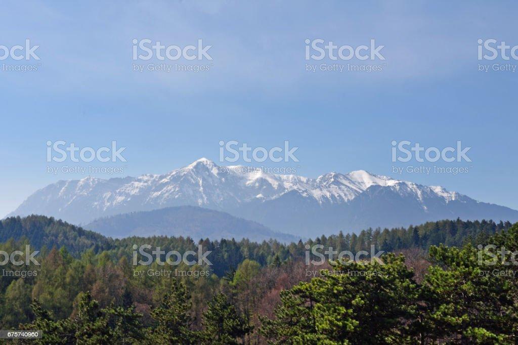 View of the carpados mountain from the Fortress of Rasnov, Transylvania, Rumania stock photo