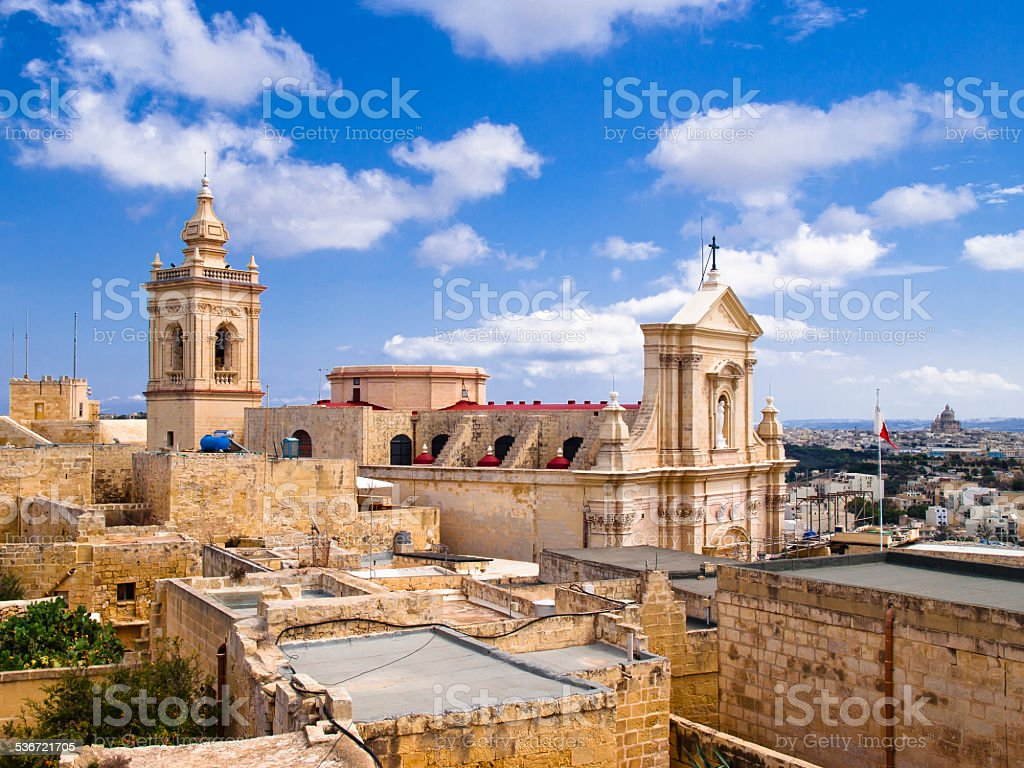 view of the cathedral in Rabat, Gozo stock photo