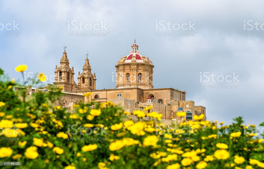 View of the Cathedral of St. Paul in Mdina stock photo