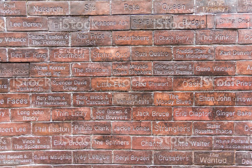 View of the Cavern Wall of Fame in front of the Cavern Pub, Liverpool, UK stock photo