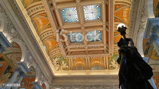 Washington, DC, USA November 14, 2016 View of the beautiful and colorful ceiling of the Library of Congress in Washington DC, USA. No people are in the photo.
