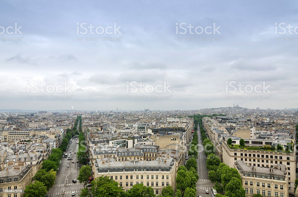 View of the Champs Elysees with montmartre in the background stock photo