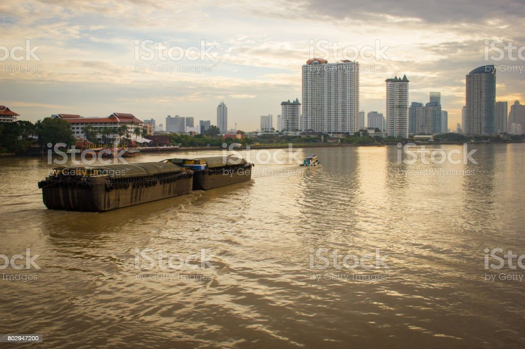 View of the Chao-Phraya-River at dawn. stock photo