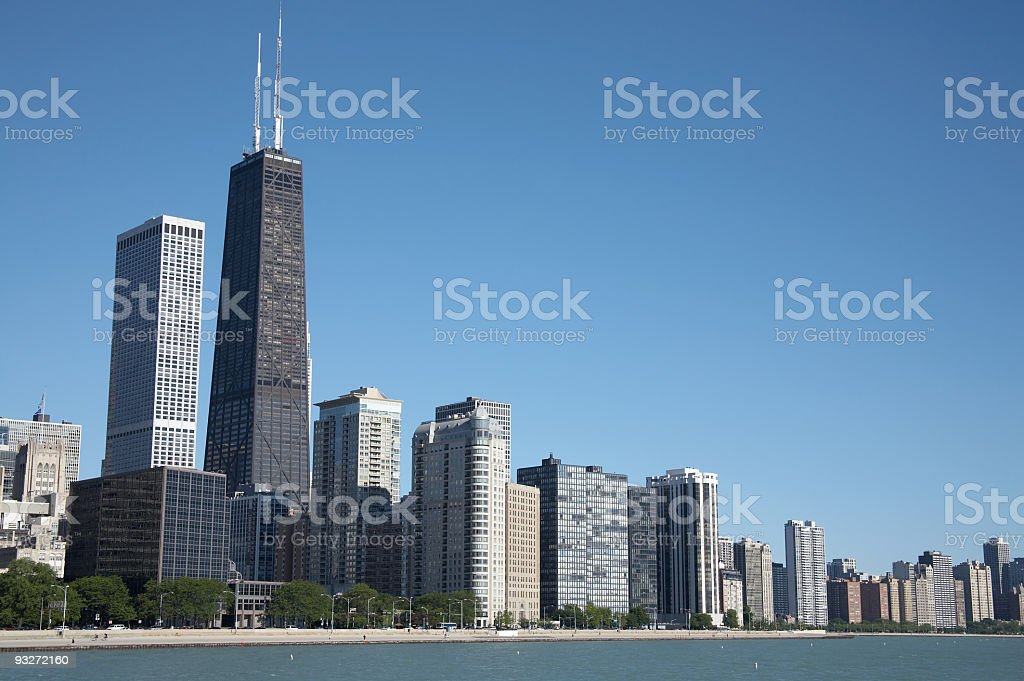 View of the Chicago skyline with clear blue sky royalty-free stock photo