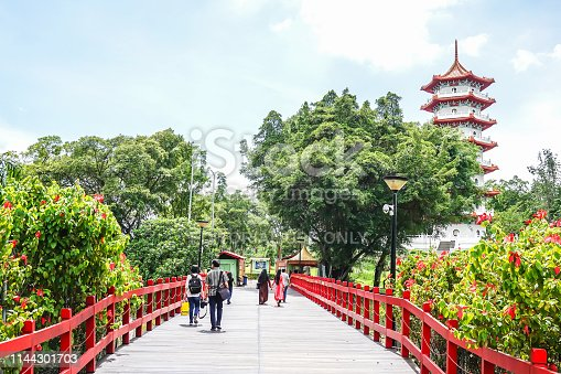 Singapore - 26 November 2018:View of the Chinese Garden Singapore, a park located in Jurong East, Singapore.