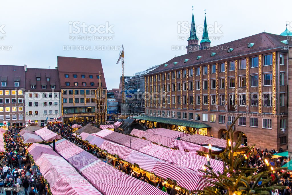 view of the Christkindlesmarkt in Nuremberg stock photo