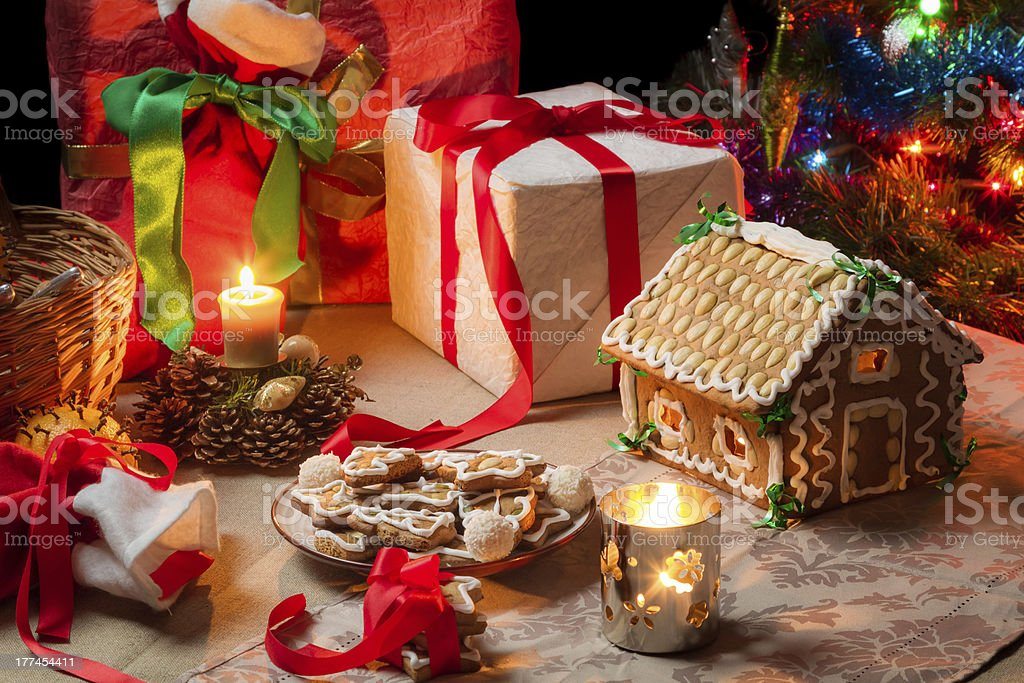 View of the Christmas table with presents royalty-free stock photo