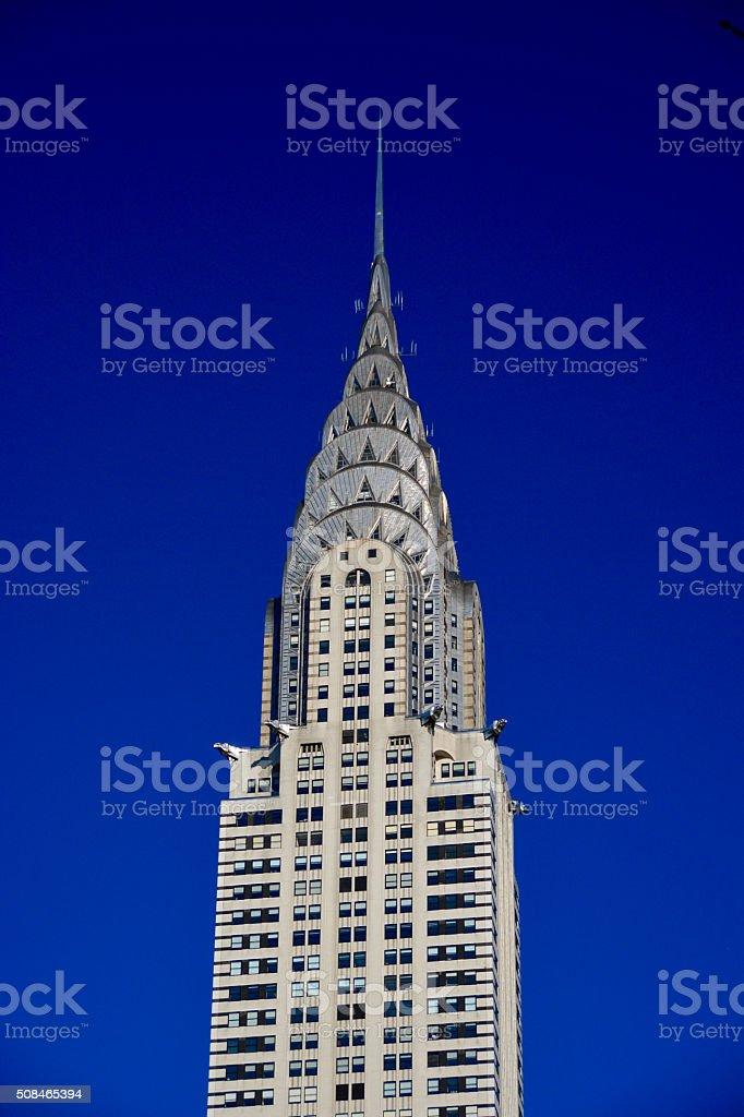 View of the Chrysler building New York City skyline stock photo