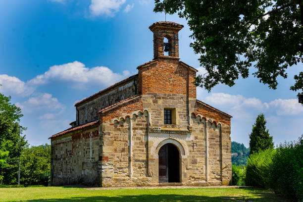 View of the Church of San Secondo in Cortazzone (Asti, Piedmont, Italy). stock photo