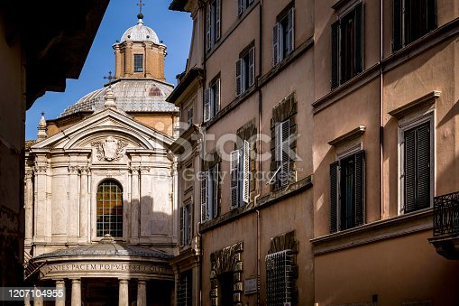 Rome, Italy - A view of Via della Pace with a glimpse of the church of Santa Maria della Pace, in the historic heart of Rome, a few hundred meters from the famous Piazza Navona. Image in HD format.