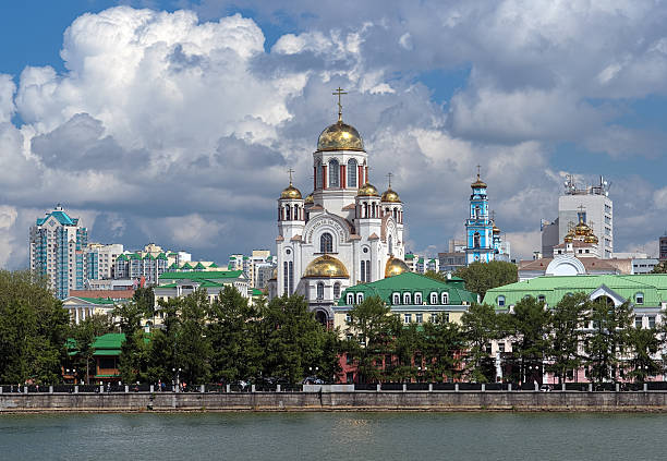 View of the Church on Blood in Yekaterinburg, Russia stock photo