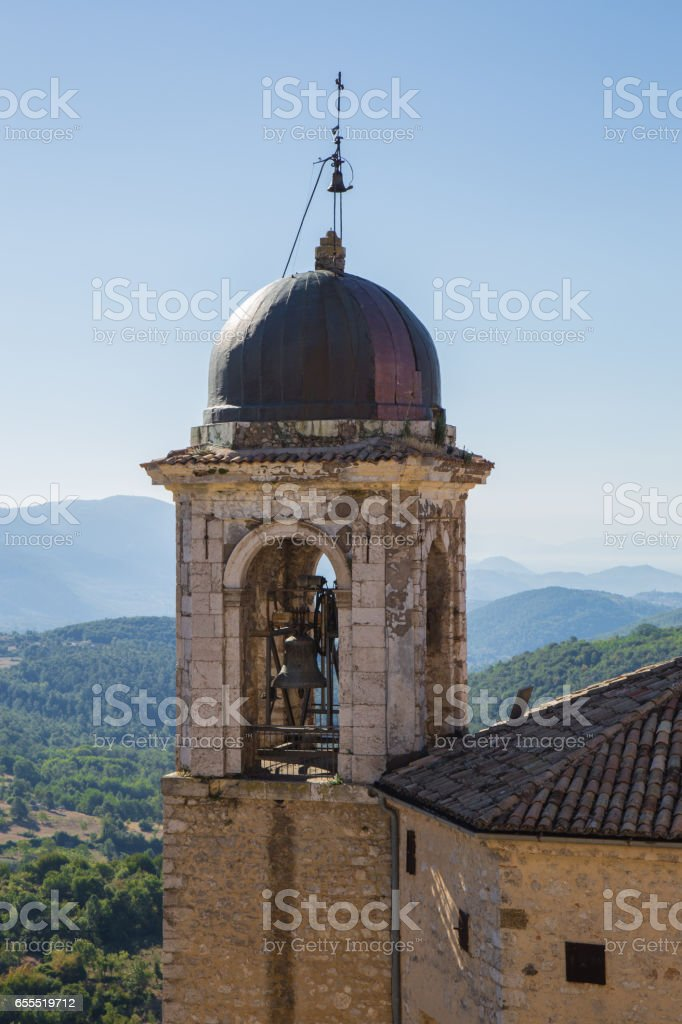 View of the church tower stock photo
