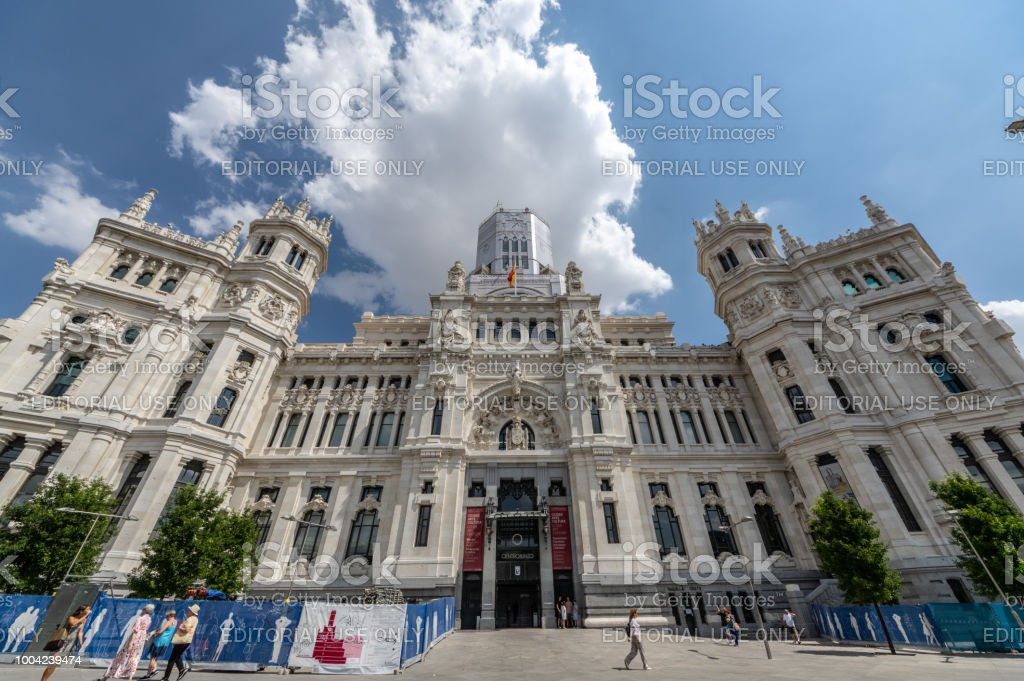 View Of The Cibeles Palace In Madrid Spain Stock Photo