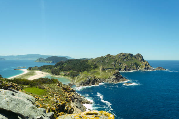 View of the Cies Islands National Park from the viewpoint of the Queen's Chair. Vigo. Galicia. Spain. View of the Cies Islands National Park from the viewpoint of the Queen's Chair. Vigo. Galicia. Spain. galicia stock pictures, royalty-free photos & images