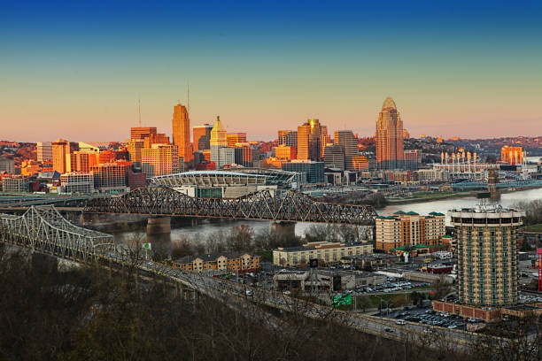 View of the Cincinnati skyline at twilight A View of the Cincinnati skyline at twilight cincinnati stock pictures, royalty-free photos & images