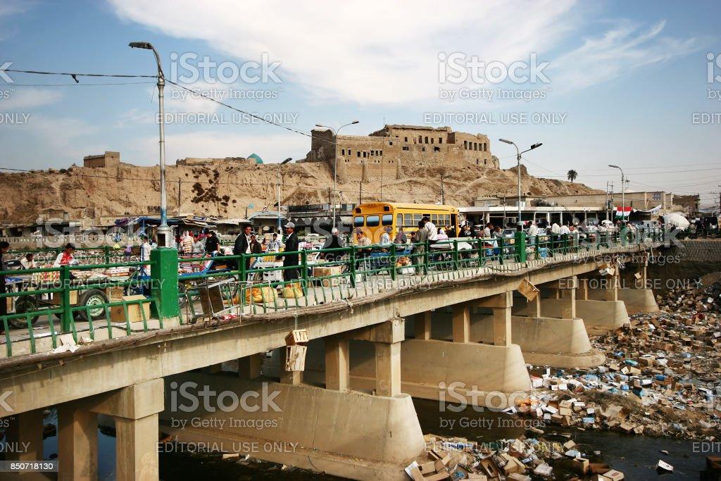 Una vista de la ciudadela en la ciudad de Kirkuk - foto de stock
