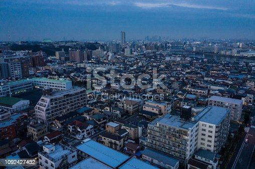 Aerial view of the city's night view