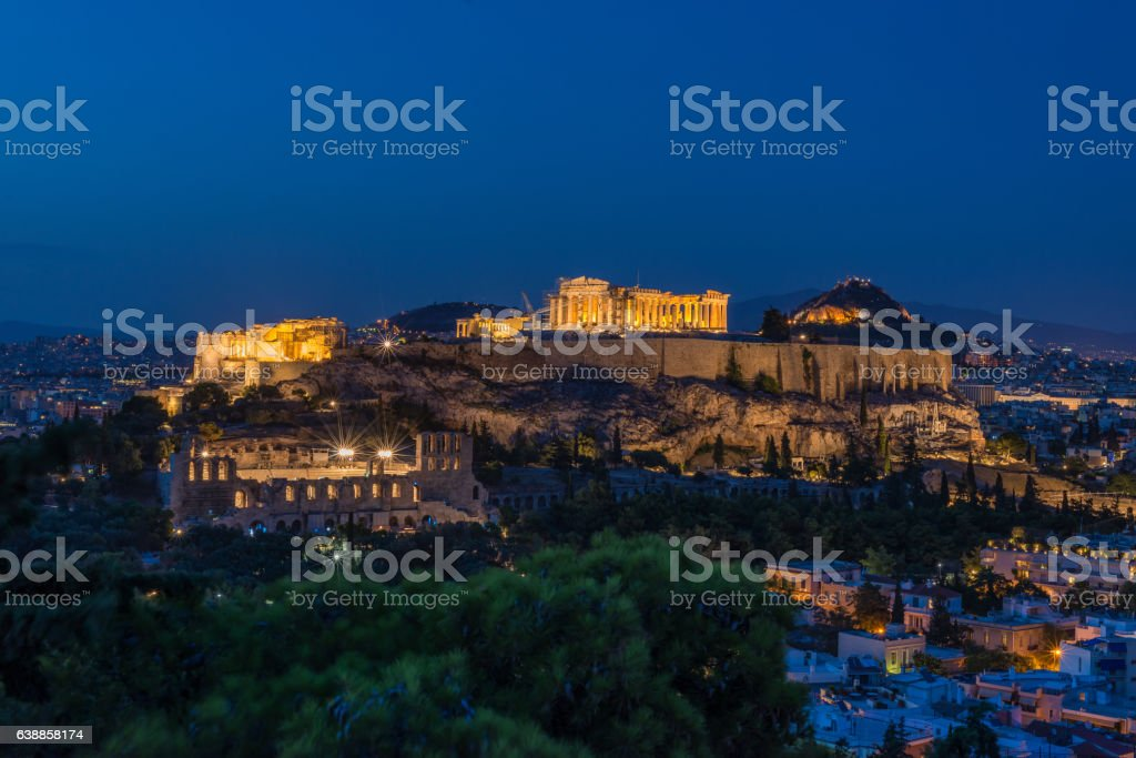 view of the city at night, Athens, Greece stock photo
