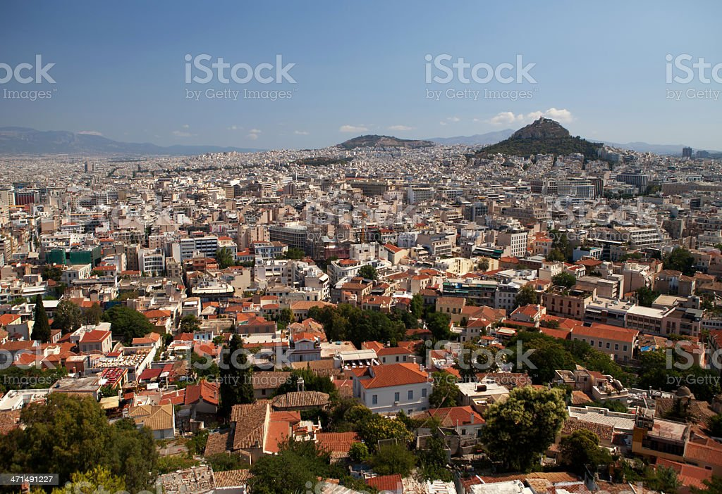 View of the city Athens, Greece royalty-free stock photo