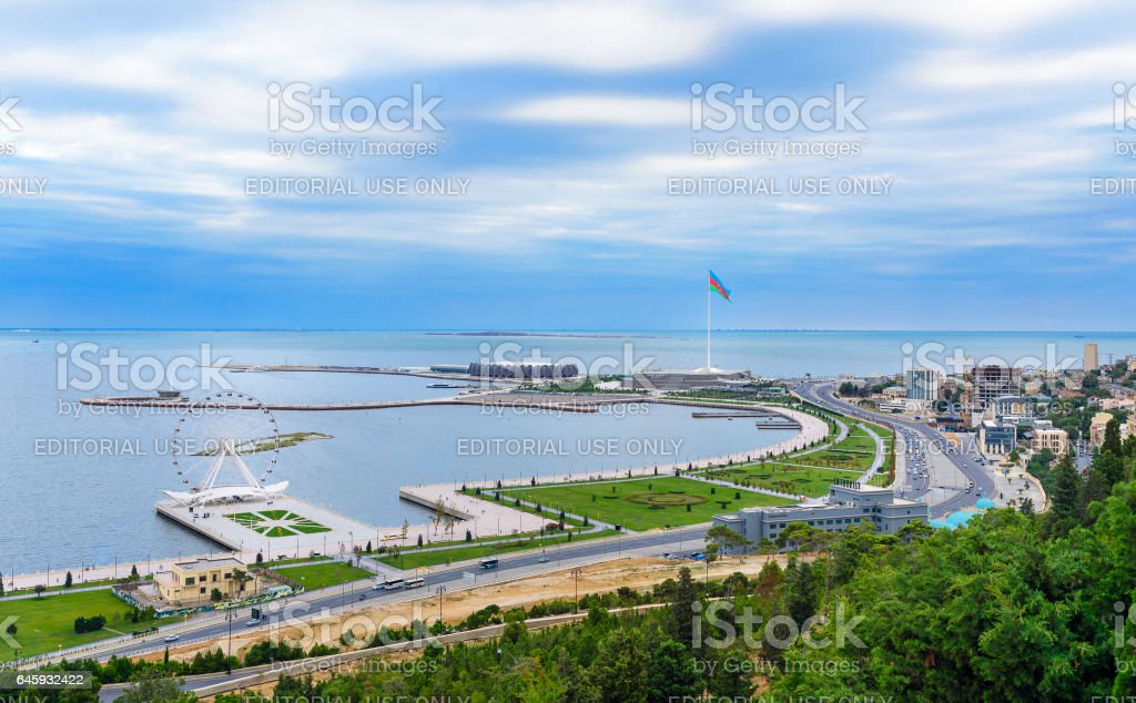 View of the city Baku and National Flag Square. Azerbaijan stock photo