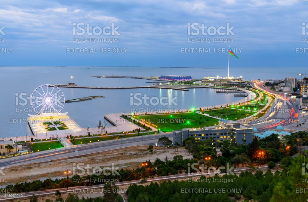 View of the city Baku and National Flag Square. Azerbaijan stock photo