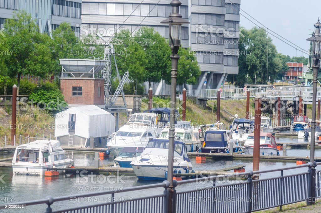 Blick auf den Innenstadt Hafen in Duisburg Deutschland stock photo
