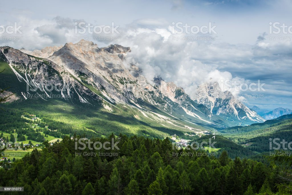 View of the city Cortina D'Ampezzo. Dolomites alps. Italy stock photo