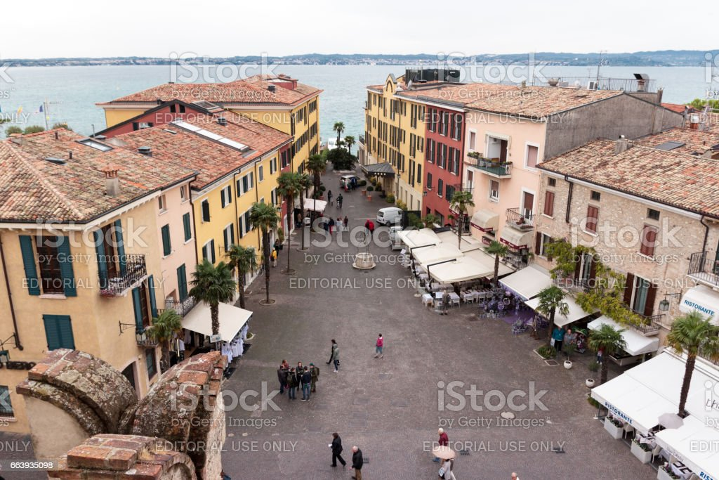 View of the city from Castello Scaligero wall in Sirmione stock photo