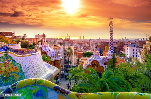 istock View of the city from Park Guell in Barcelona, Spain 1136326969